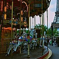 Carousel And Eiffel Tower by Eric Tressler
