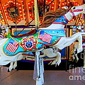 Carousel Horse With Flags by Mary Deal