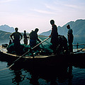 Carp Fishermen In Lake Formed By A Dam by Michael S. Yamashita