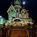 Carson Mansion At Christmas With Moon by Greg Nyquist