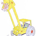 Cartoon Digger And Cats by Mike Jory