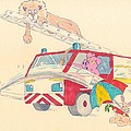 Cartoon Fire Engine And Animals by Mike Jory
