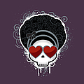 Cartoon Skull With Hearts As Eyes by Sherrie Thai