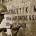 Carving The Name Of Jesse Owens Into The Champions Plinth At The 1936 Summer Olympics In Berlin by American School