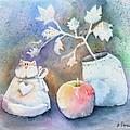 Cat-apple-vase Still Life by Arline Wagner