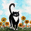 Cat Walk Through The Sunflowers by Elizabeth Robinette Tyndall