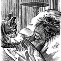 Cat Watching Sleeping Man, Artwork by Bill Sanderson