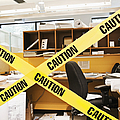 Caution Tape Blocking A Cubicle Entrance by Jetta Productions, Inc