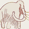 Cave Painting Of A Mammoth, Artwork by Sheila Terry