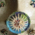 Ceiling Tile Work Artistic Mosaic Antoni Gaudi Guell Park Barcelona Spain by John Shiron