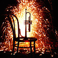 Chair And Horn With Fireworks by Garry Gay