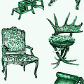 Chair Poster In Green  by Adendorff Design