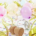 Champagne Cork, Ballons And Streamers by Photo Division