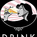 Champagne Drinking Woman Propaganda Style by Jay Reed