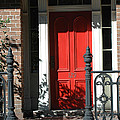 Charleston Red Door - Red White Black Door With Iron Gate Posts by Kathy Fornal