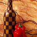 Checker Wine Bottle And Red Pepper by Garry Gay