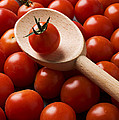 Cherry Tomatoes And Wooden Spoon by Garry Gay