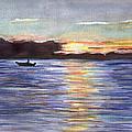 Chesapeake Dusk Boat Ride by Clara Sue Beym