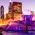 Chicago At Night With Buckingham Fountain by Paul Velgos