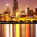 Chicago At Night With Willis-sears Tower by Paul Velgos