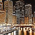 Chicago City Skyline At Night by Paul Velgos