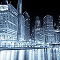 Chicago Downtown Skyline At Night by Paul Velgos