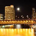 Chicago Michigan Avenue Dusable Bridge At Night by Paul Velgos