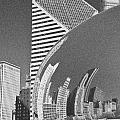 Chicago Reflection Bean Black And White by Loriannah Hespe