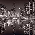 Chicago River East Bw by Steve Gadomski