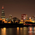 Chicago Skyline Downtown City Buildings At Night by Paul Velgos