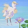 Chick And  Water Lily by Phyllis Kaltenbach