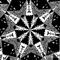 Children Animals Kaleidoscope Black And White by Donna Brown
