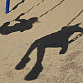 Children Cast Body Shadows In The Sand by Stacy Gold