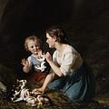 Children With Kitten by Fritz Zuber-Buhler