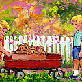 Chilrens Art-boy And Girl With Wagon And Puppies by Carole Spandau