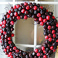 Christmas Cherry Wreath by Barbara Griffin