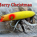 Christmas Greeting Card - Gibbs Darter Vintage Fishing Lure by Mother Nature