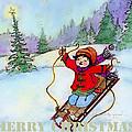 Christmas Joy Child On Sled by Glenna McRae