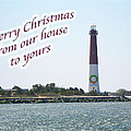 Christmas Lighthouse Card - From Our House To Yours Card by Mother Nature