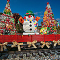 Christmas Snowman On Rails by Christopher Holmes