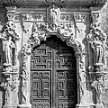 Church Door - Black And White by David Morefield