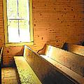 Church Pews - Light Through Window by Rebecca Korpita