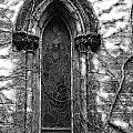 Church Window And Vines Bw by Mike Nellums