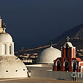 Churches In Fira Greece by Bob Christopher