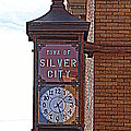 City Clock In Silver City Nm by Susanne Van Hulst