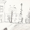 City Street - Sketch by Robert Meszaros