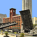 Clark Street Bridge Chicago - A Contrast In Time by Christine Till