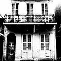 Classic French Quarter Residence New Orleans Black And White Conte Crayon Digital Art by Shawn O'Brien