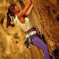Climber Heidi Badaracco Leads A Route by Bill Hatcher