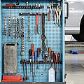 Closeup Of A Variety Of Tools On A Blue by Corepics